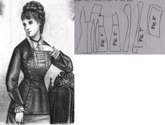 Cornelia 1877.: Cuirasse bodice with aside closure. Fig. 4. front part, fig. 5. side gore, fig. 6.-7. back gores, fig. 8. sleeves.