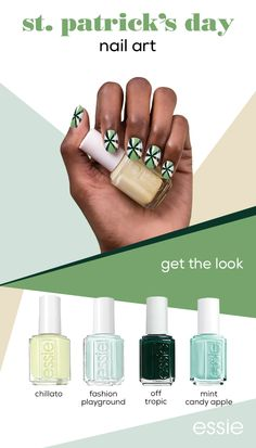You'll never get pinched in this leprechaun-approved manicure. Combine four shades of essie green to create this standout St. Patrick's day look.