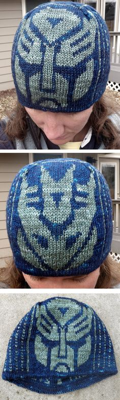 Free Knitting Pattern for Transformers Hat - This hat pattern comes with  Autobot and Decepticon charts to choose from or knit both! Designed by Lori Magnus. Pictured project by gbina