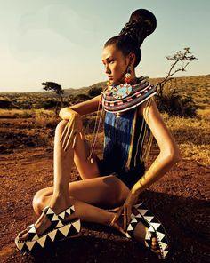 Wang Xiao by Yin Chao for Harper's Bazaar China November 2013, african fashion editorial