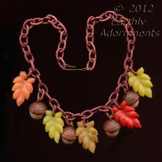 Vintage 1940's Celluloid autumn Leaf and Acorn Necklace