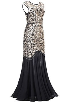 PrettyGuide Damen 1920s Schwarz Pailletten Gatsby Bodenlangen Abendkleid L Gold