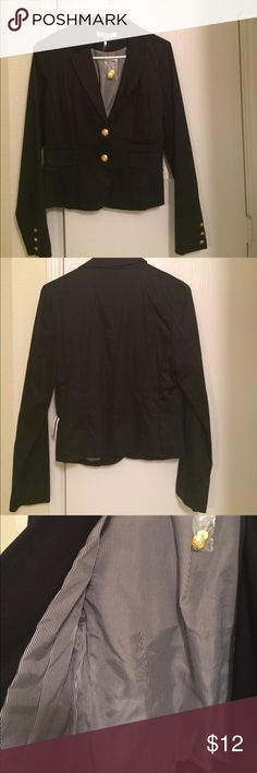 Black blazer Black blazer with gold buttons.  Pinstripe lining.  New With Tag.  Never worn.  Size Large. Jackets & Coats Blazers