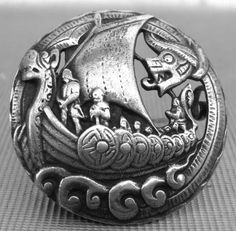 Viking brooch, silver. I have not been able to determine if this is an authentic viking artifact or not. My Google-fu has failed me.