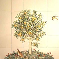 Lemon tree on handpainted tiles