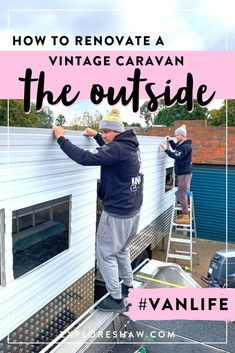 Our complete step by step guide explaining exactly how we renovated the outside of our vintage caravan, including the chassis, cladding and windows. Caravan Renovation Diy, Diy Caravan, Caravan Makeover, Retro Caravan, Caravan Ideas, Caravan Decor, Vintage Caravan Interiors, Vintage Caravans, Vintage Travel Trailers