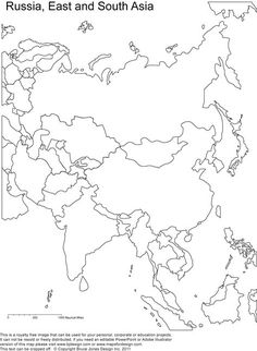 printable outline maps of Asia for kids