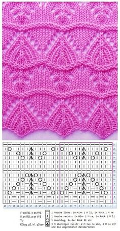 à tricoter avec graphique, graphique strickstelle - Stricken Lochmuster - Tache à tricoter avec graphique, graphique strickstelle - Stricken Lochmuster - кайма Strickmuster Nr. Baby Knitting Patterns, Lace Knitting Stitches, Knitting Charts, Easy Knitting, Stitch Patterns, Knitting Wool, Tricot D'art, Crochet Baby, Easy Crochet