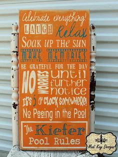 Personalized Family Pool Rules Subway Sign Pool by MadiKayDesigns, $84.99