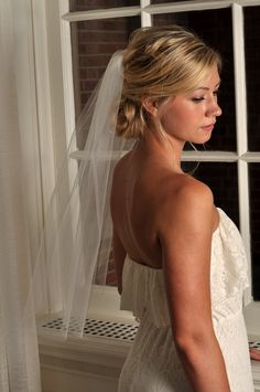 Wedding Veil - Elbow Length with Raw Cut Edge - Ivory, White, Diamond White, Champagne. $35.99, via Etsy.