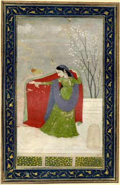 ca. 1790. A young woman concealing her lover with her cloak. Pahari School, Kangra style.