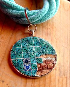 Portugal Antique Azulejo Tile RESTORATION Replica by Atrio on Etsy  ~~~ adore the tile patterned pendant & the seed bead filled nylon mesh tube necklace