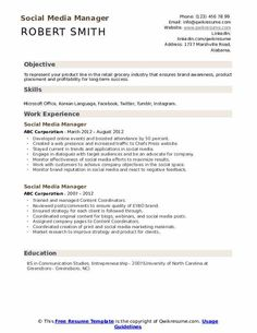 Social Media Manager Resumes Professional Cover Letter, Professional Resume, Resume Design Template, Resume Templates, 30 Day Eviction Notice, Family Tree Template Word, Employee Evaluation Form, Cover Letter Example, Manager Resume