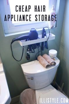 Hair appliance storage on pinterest in home salon for Cheap bathroom appliances