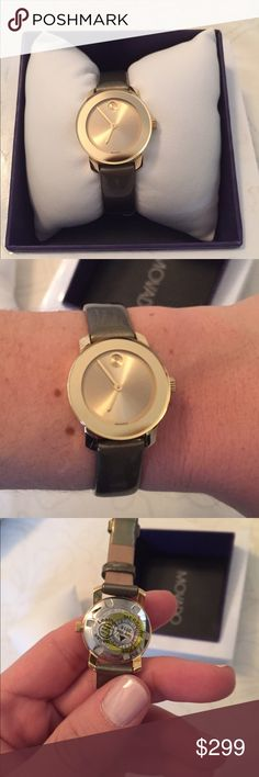 Beautiful gold new movado bold watch New without tags, gold movado bold watch with olive patent leather strap. This watch is beautiful!! Absolutely no damage, scratches, etc. Movado Accessories Watches