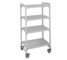 """Cambro CSUR51426480 42-in Shelving Starter Unit w/ 5-Shelves, 21 D x 67 H, Grey, Each by Cambro. $512.45. Cambro CSUR51426480 42-in Shelving Starter Unit w/ 5-Shelves, 21 D x 67 H, Grey. Camshelving Mobile Starter Unit, 21"""" W x 42"""" L x 67"""" H, 5 shelf, includes: 4 posts, 2 sets post connectors, traverses & vented shelf plates, 4 casters (2 swivel locking & 2 total locking) speckled gray, NSF."""
