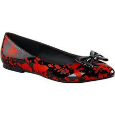 Women's Funtasma VAIL-20BL Pointed Toe Flats Black/Red ($34) ❤ liked on Polyvore featuring shoes, flats, red patent leather flats, black patent leather flats, red pointed toe flats, red patent leather shoes and red pointy toe flats