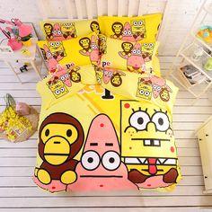 >> Click to Buy << 100% Cotton Bape SpongeBob Bedding Set Kids Cartoon Duvet Cover Bed Sheet Pillow Case Bed Linen Twin/single Queen Size #Affiliate