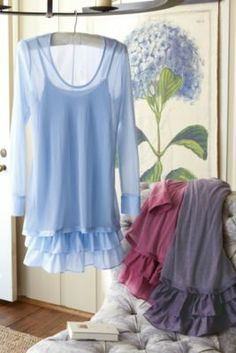 Soft 2 Layer Top - Loose Fit Top For Women, Ladies Scoop Neck Top, Ruffle Top | Soft Surroundings