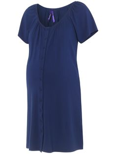 Buy Séraphine Gemma Two-Button Maternity Nightdress, Mid Blue from our Nightwear range at John Lewis & Partners. Maternity Nightwear, Maternity Pajamas, Pyjamas, Lace Detail, Latest Trends, Short Sleeve Dresses, Feminine, Buttons, Chic