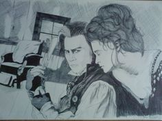 Bic black pen drawing of Johnny Depp/Helena Bonham Carter