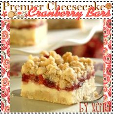 """""""Premier Cheesecake Cranberry Bars"""" by thebestcookbook ❤ liked on Polyvore"""