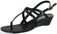 Steve-Madden-Flirting-Womens-Demi-Wedge-Size-8-Gold-buckle-T-Strap-Sandals-W107