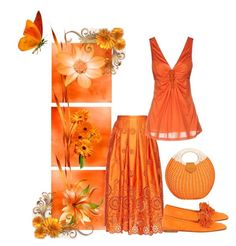 """""""Spring is blooming in orange"""" by barebear1965 ❤ liked on Polyvore featuring Rochas, P.A.R.O.S.H. and Aquazzura"""
