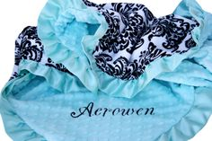 Black and White Damask Minky Baby Blanket with Tiffany Blue Dot minky Back and Satin Ruffle Trim on Etsy, $50.00