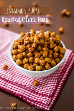 How to make Crunchy Cinnamon-Sugar Roasted Chickpeas. Healthy and addicting! sallysbakingaddiction.com @Sally [Sally's Baking Addiction]