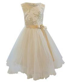 3da6117ccf6 Bonnie Jean Big Girls 7-16 Sleeveless Gold Embroidered Tutu Holiday Dr