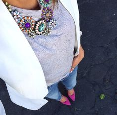 girly statement necklace on casual grey tee