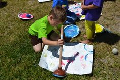 MAK NOTE: All kinds of printing outdoors is fun and inspires learning.  http://messypreschoolers.blogspot.com/2011/06/toilet-art.html