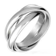 Triple Russian Interlocked Stainless Steel Men Unisex Wedding Band Rings: mens wedding rings