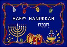 Winter Seasonal Holiday Happy Hanukkah Blue Area Rug