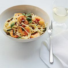 Lemon Spaghetti with Shrimp | Food & Wine - Made this for dinner and it was a huge hit!  Would also be great with asparagus added to it.