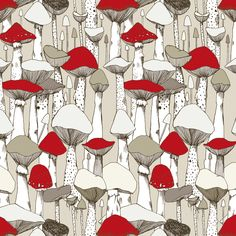 Pattern with mushrooms by Marina Molares Mushroom Crafts, Mushroom Art, Textile Patterns, Textile Design, Print Patterns, Surface Pattern Design, Pattern Art, Botanical Illustration, Illustration Art