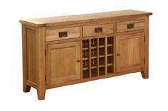 Vancouver Oak Furniture - Vancouver Petite Oak 3 Drawer 2 Door Wine Table
