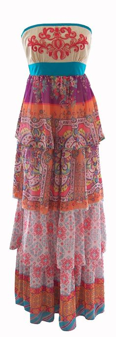 Bohemian Strapless Maxi Dress with Embroidery