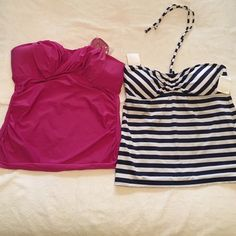 Please Read - selling separate or bundled Massimo Blue and white striped halter tank swim top ties around the neck XL - Merona pink tube top with removable straps XL Merona Swim