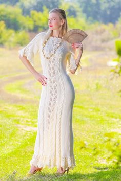 IVORY Hand Knitted Cotton Wedding Dress Handcrafted bridal gown SUPERTANYA S M