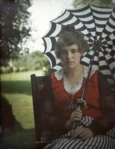 "Alfred Stieglitz's autochrome photo of his niece Flora Stieglitz Straus, ca 1915. ""It's the greatest thing that ever happened to photography,"" Alvin Langdon Coburn told Alfred Stieglitz in 1907 of color photography, ""I have the color fever badly."" ""Soon the world will be color-mad,"" said Stieglitz."