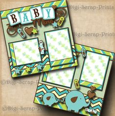 BABY BOY ~ 2 premade scrapbook pages paper piecing layout for album BY DIGISCRAP | Crafts, Scrapbooking & Paper Crafts, Pre-Made Pages & Pieces | eBay!