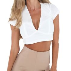 10.49$  Watch now  - Sexy Women Bodycon Crop Top Hollow Out Lace Up V-Neck Short Sleeves Casual Top Blouse Black/White/Pink
