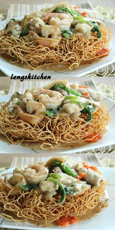 is essentially the same. It is after all, the gravy that matters most. With the chow mein that I am using, I made it a point to deep fry the noodles in batches before pouring the gravy over it. This gives an extra crunch to the dish - a huge plus! Seafood Dishes, Seafood Recipes, Cooking Recipes, Asian Noodle Recipes, Asian Recipes, Vietnamese Recipes, Chinese Recipes, Cantonese Chow Mein Recipe, Cantonese Food