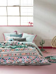 Enliven your look with the fiesta of colour captured in the cosy cotton percale of the Antigua Quilt Cover Set from Linen House. Linen Bed Sheets, Linen Bedroom, Bedroom Sets, Linen Bedding, Queen Bed Linen, Tribal Bedding, Black Bed Linen, Kids Blankets, Colourful Cushions