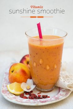 Supergolden Bakes: Vitamix Sunshine Smoothie Ingredients  1/2 cup coconut milk 1 tbsp flaxseed (powder, optional) 2 nectarines (quartered) 2 orange (peeled and quartered) 1/4 lemon (peeled) 2 apples (quartered, seeds removed) 2 tbsps goji berries (soaked in 1 tbsp water) 1 handful ice (about 6-7 ice cubes - more if you like)