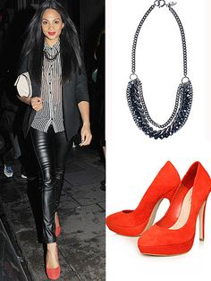 Alesha Dixon's been stepping out in some super styles of late. Both on and off screen, the girl is working it and becoming a must-watch fashionista. Take for example this outfit where she has skilfully teamed monochrome stripes and sexy leather leggings with hot-red heels and a statement necklace,