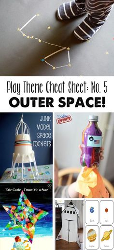 Theme - Space Play theme cheat sheet: Outer Space - part of an awesome series of monthly activity round ups centered on a theme. Space Activities, Craft Activities For Kids, Crafts For Kids, Space Preschool, Craft Ideas, Fun Learning, Learning Activities, Outer Space Theme, Space Party