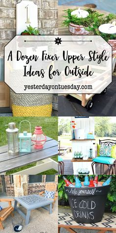 Modern Farmhouse Ideas for Outdoors including a cute DIY kid's picnic table jumbo flower pot drink holder, wagon, beverage station and more! fixer upper | outside | modern farmhouse